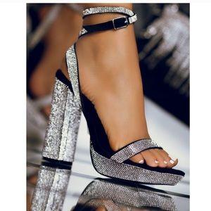 Dripping diamond open toe heel